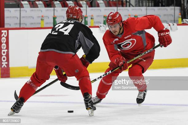 Carolina Hurricanes Defenseman Jake Bean defends against Carolina Hurricanes Right Wing Spencer Smallman during the Carolina Hurricanes Development...