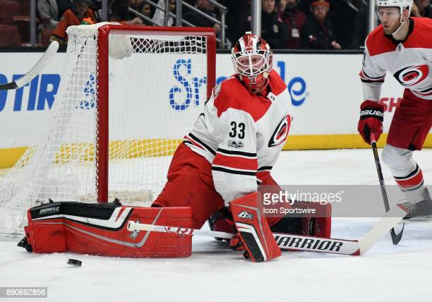 Carolina Hurricanes goalie Scott Darling blocks a shot in the first period of a game against the Anaheim Ducks on December 11 played at the Honda...