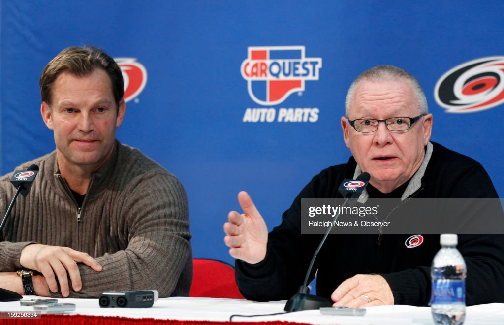 Carolina Hurricanes head coach Kirk Muller, left, and General Manager Jim Rutherford discuss the lockout and the upcoming NHL season during a press conference at the PNC Arena on Thursday, January 10, 2013, in Raleigh, North Carolina.