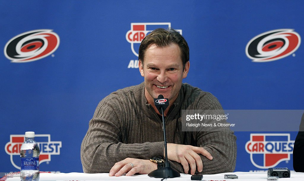 Carolina Hurricanes head coach Kirk Muller responds to a question during a press conference at the PNC Arena on Thursday, January 10, 2013, in Raleigh, North Carolina.