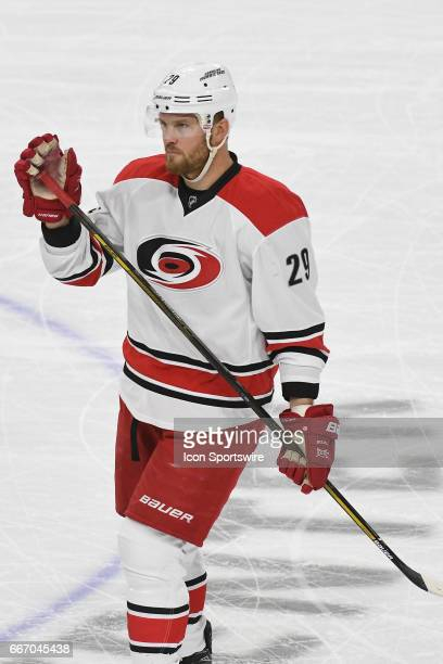 Carolina Hurricanes Left Wing Bryan Bickell waves to the crowd during a National Hockey League game between the Carolina Hurricanes and the...
