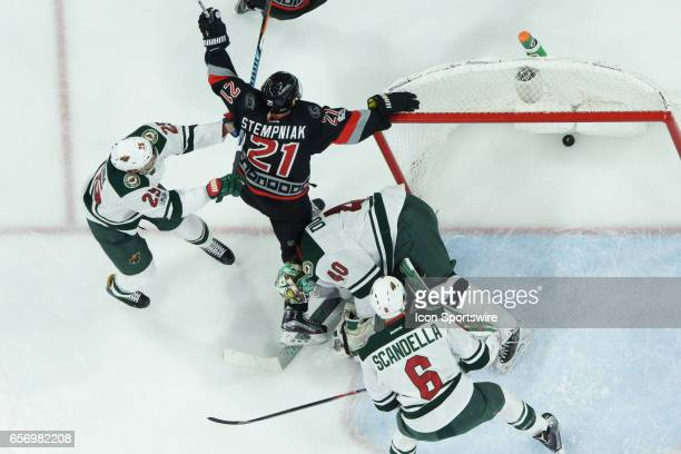 Carolina Hurricanes Right Wing Lee Stempniak celebrates the gamewining goal in a game between the Carolina Hurricanes and the Minnesota Wild on March...