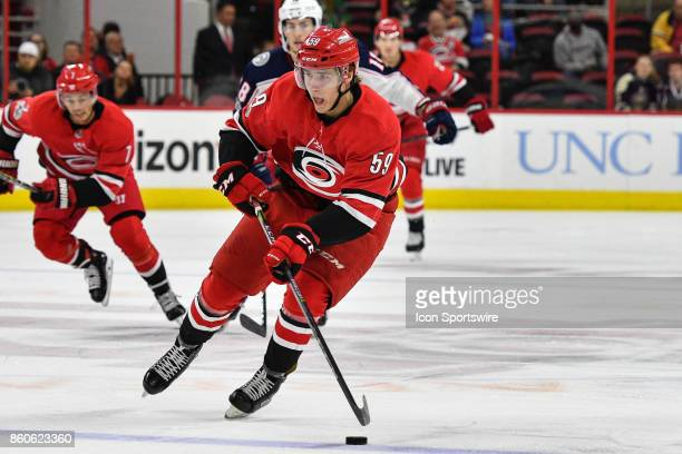 Carolina Hurricanes Winger Janne Kuokkanen skates with the puck in a game between the Columbus Blue Jackets and the Carolina Hurricanes at the PNC...