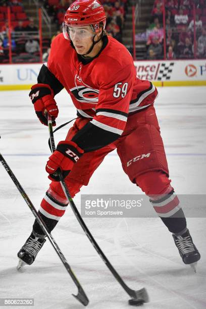 Carolina Hurricanes Winger Janne Kuokkanen takes a shot in a game between the Columbus Blue Jackets and the Carolina Hurricanes at the PNC Arena in...