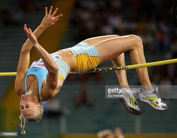 Carolina Kluft of Sweden clears the bar in the Womens High Jump during the IAAF Golden Gala at The Olympic Stadium on July 13 2007 in Rome Italy