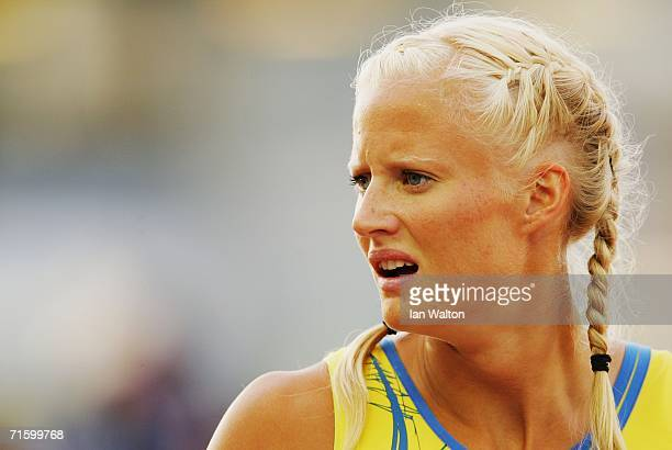 Carolina Kluft of Sweden looks displeased with her performance following the 200 Metres discipline in the Women's Heptathlon on day one of the 19th...