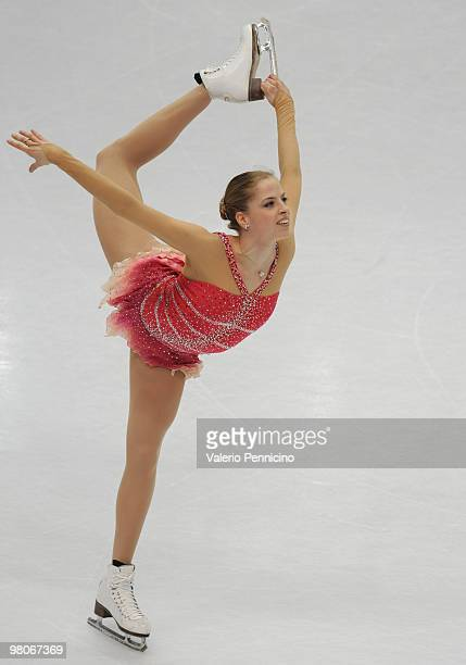 Carolina Kostner of Italy competes during the Ladies Short Program at the 2010 ISU World Figure Skating Championshipson March 26 2010 in Turin Italy