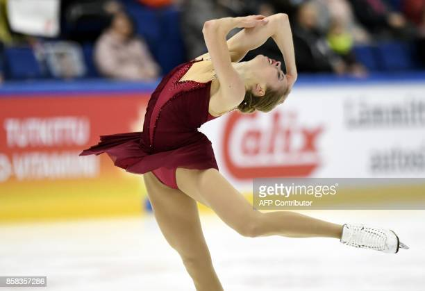 Carolina Kostner of Italy competes in the ladies short program on October 6 2017 during the ISU figure skating Finlandia Trophy competition at the...