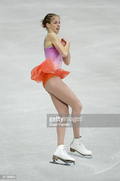 Carolina Kostner of Italy in action during the ladies free skating program at the 2004 World Figure Skating championships at Westfalenhalle on March...
