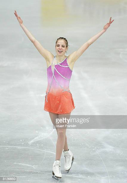 Carolina Kostner of Italy performs during the ladies free skating program at the 2004 World Figure Skating championships at Westfalenhalle on March...