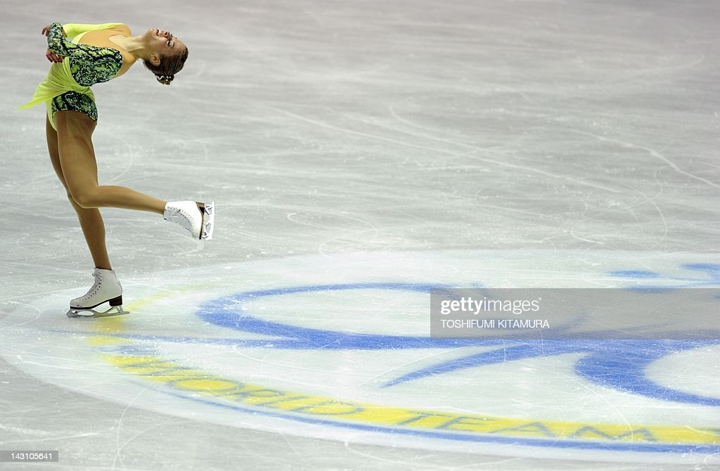 Carolina Kostner of Italy performs during the ladies short program event of the World Team Trophy 2012 figure skating competition in Tokyo on April 19, 2012. Kostner got the ladies short program top score of 69.48 points. AFP PHOTO / TOSHIFUMI KITAMURA