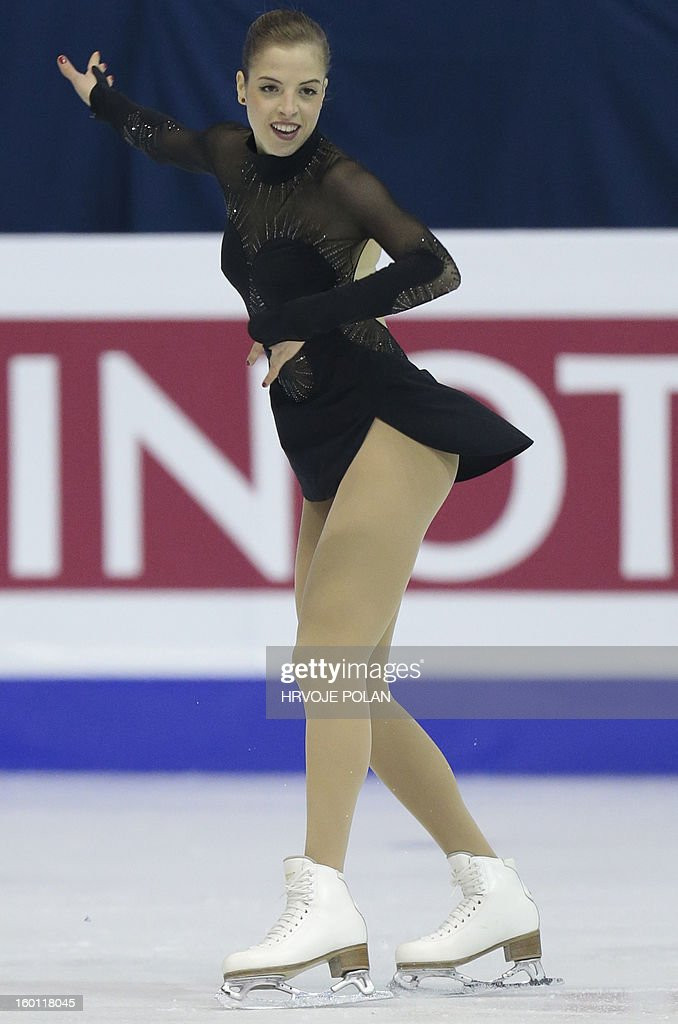 Carolina Kostner of Italy performs during the women's free skating program at the European Figure Skating Championships in Zagreb, on January 26, 2013. Kostner won the gold medal. AFP PHOTO/HRVOJE POLAN