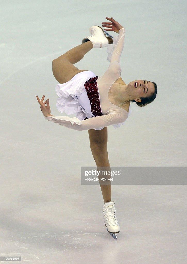 Carolina Kostner of Italy performs her short program on January 25, 2013 during the women's short skating program of the European Championship in Zagreb.