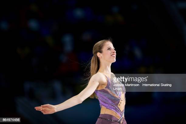 Carolina Kostner of Italy poses in the Ladies medal ceremony during day three of the ISU Grand Prix of Figure Skating Rostelecom Cup at Ice Palace...