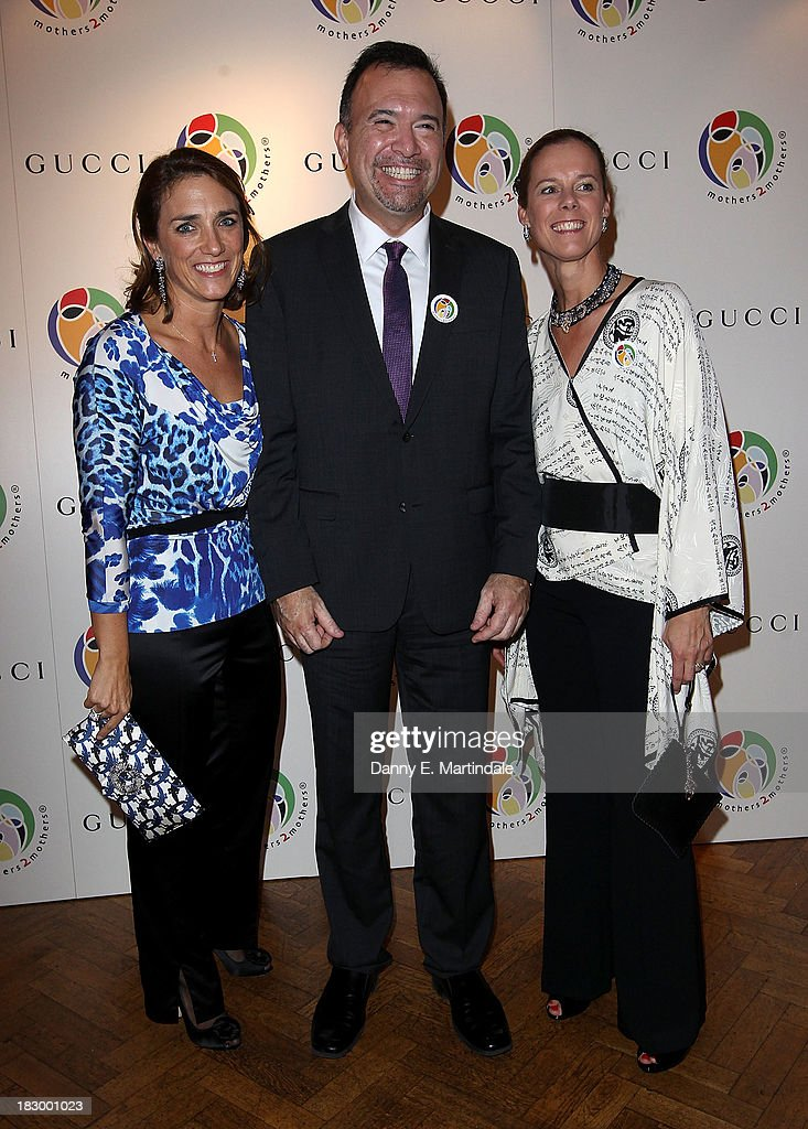 Carolina Manhusen Schwab, Frank Beadle de Palomo and Maartje Skare-Hessels attends the mothers2mothers cocktail party to celebrating reaching one million mothers in partnership with GUCCI at One Marylebone on October 3, 2013 in London, England.