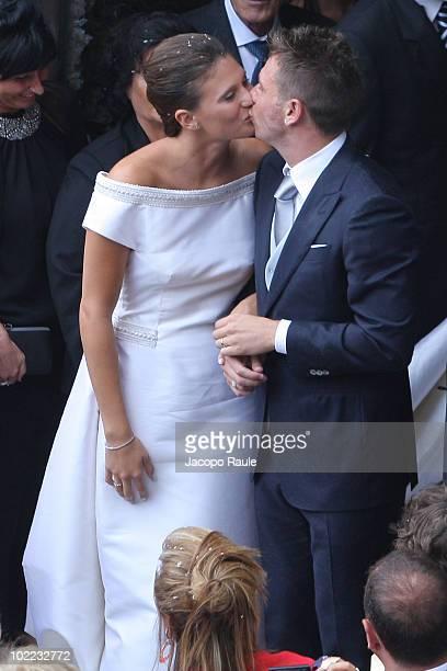 Carolina Marcialis and Antonio Cassano attend their wedding on June 19 2010 in Portofino Italy