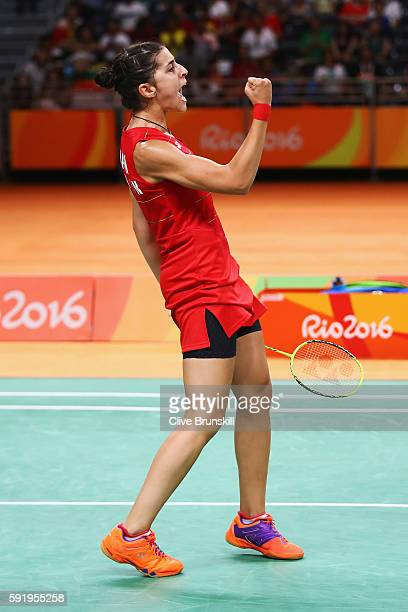 Carolina Marin of Spain celebrates a point against V Sindhu Pusarla of India during the Women's Singles Gold Medal Match on Day 14 of the Rio 2016...