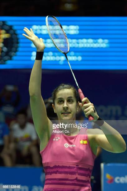 Carolina Marin of Spain celebrates after she defeated Nozomi Okuhara of Japan during the women's singles semi final of the 2017 World BWF Super...
