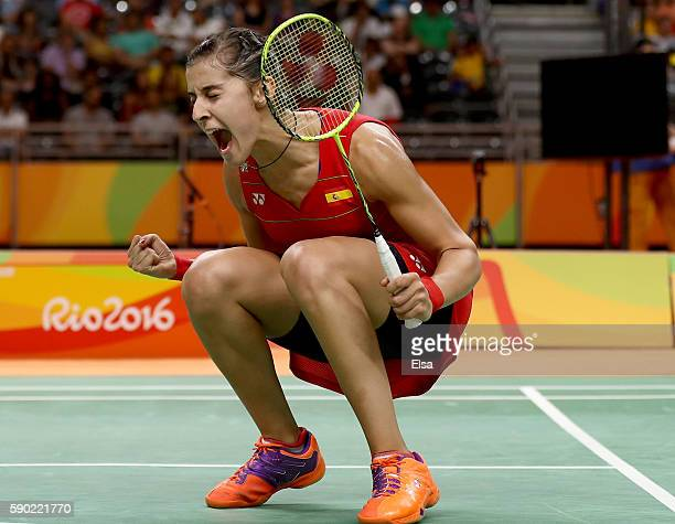 Carolina Marin of Spain celebrates her match win over Ji Hyun Sung of Korea during the Women's Quarterfinal match on Day 11 of the Rio 2016 Olympic...