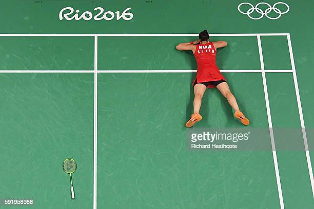 Carolina Marin of Spain celebrates match point against V Sindhu Pusarla of India during the Women's Singles Gold Medal Match on Day 14 of the Rio...