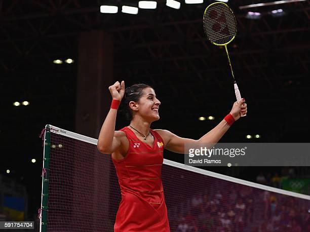Carolina Marin of Spain defeating Xuerui Li of China during the Women's Badminton Singles Semifinal Match between Carolina Marin of Spain and Xuerui...