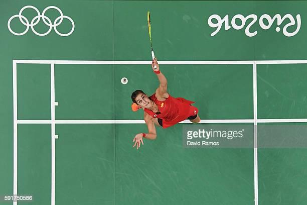 Carolina Marin of Spain in action against Xuerui Li of China during the Women's Badminton Singles Semifinal Match between Carolina Marin and Xuerui...