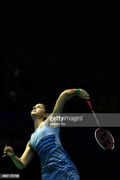 Carolina Marin of Spain plays a return shot to Nitchaon Jindapol of Thailand in the women's singles during round two of the 2017 World BWF Super...