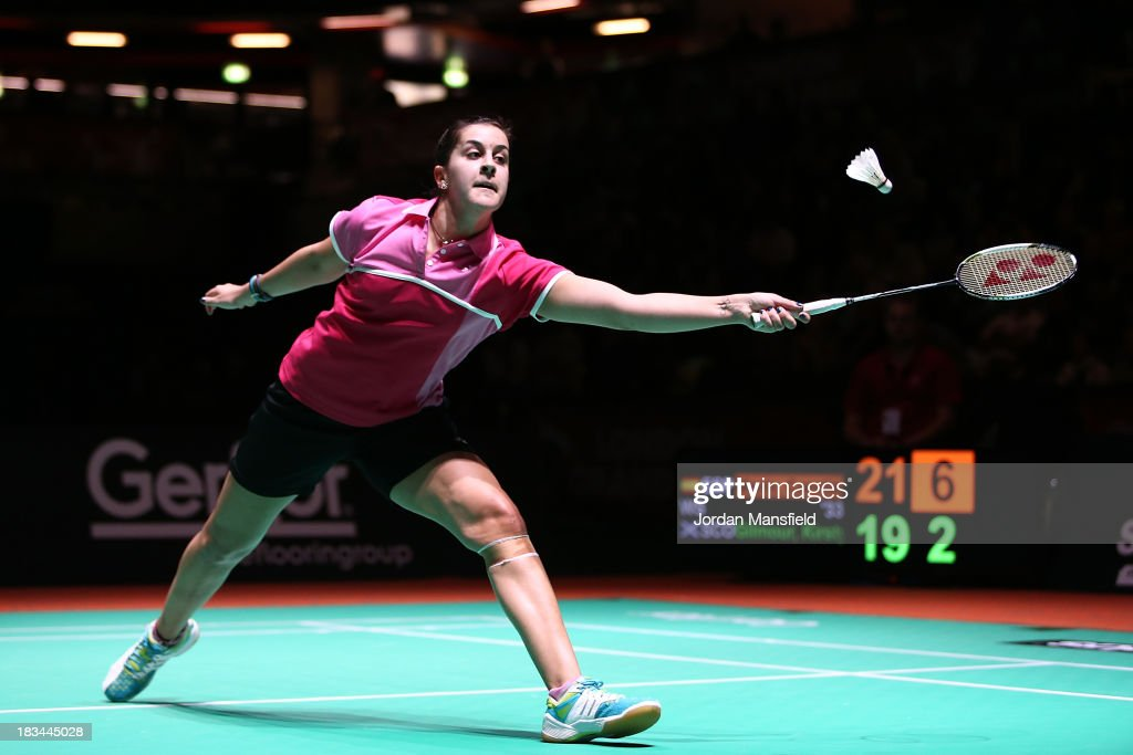Carolina Marin of Spain plays a shot during the WoMen's Singles Final match against Kirsty Gilmour of Scotland during Day 6 of the London Badminton Grand Prix at The Copper Box on October 6, 2013 in London, England.