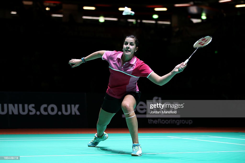 Carolina Marin of Spain plays a shot during the Womens Singles Final match against Kirsty Gilmour of Scotland during Day 6 of the London Badminton Grand Prix at The Copper Box on October 6, 2013 in London, England.