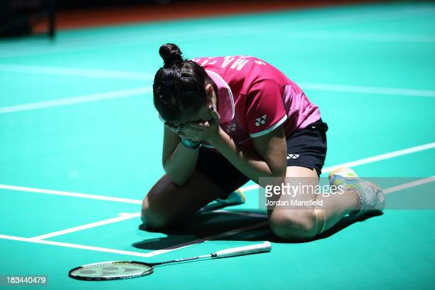 Carolina Marin of Spain reacts after winning the Final of the Womens Singles against Kirsty Gilmour of Scotland during Day 6 of the London Badminton...