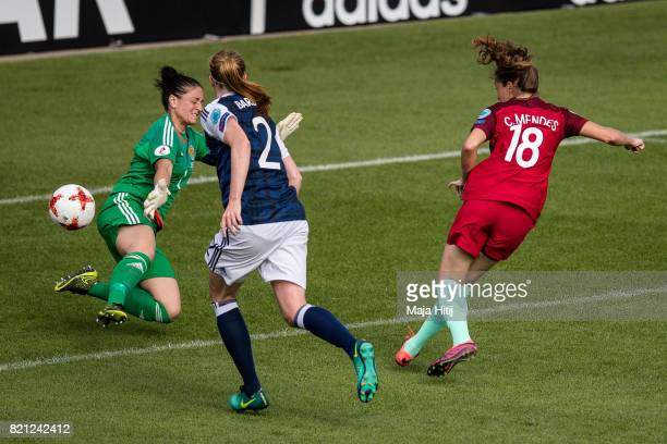 Carolina Mendes of Portugal scores her sides first goal during the UEFA Women's Euro 2017 Group D match between Scotland v Portugal at Sparta Stadion...