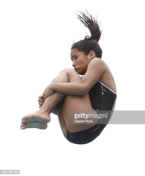 Carolina Murillo of Colombia competes during the diving event as part of the XVII Bolivarian Games Trujillo 2013 at Villa Regional del Callao on...