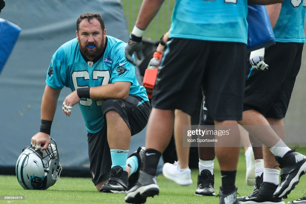 Carolina Panthers center Ryan Kalil (67) during the Carolina Panthers Mini Camp held on June 15, 2017 held at Carolina Panthers Training Facility in Charlotte, NC.