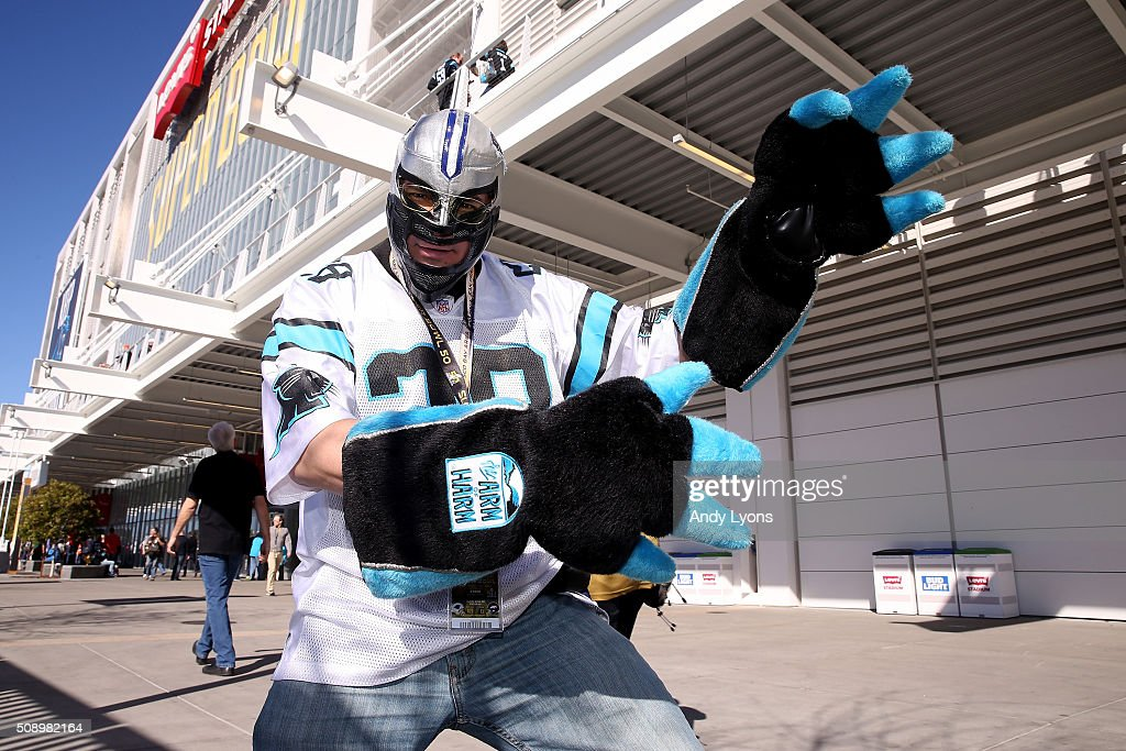 A Carolina Panthers fan poses prior to Super Bowl 50 between the Denver Broncos and the Carolina Panthers at Levi's Stadium on February 7, 2016 in Santa Clara, California.