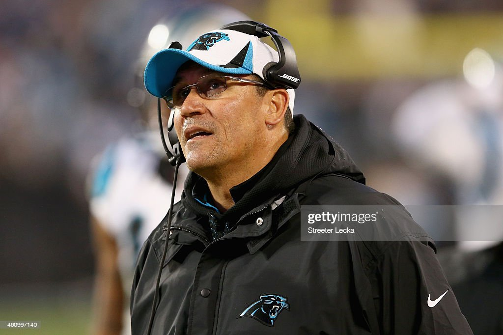 Carolina Panthers head coach Ron Rivera checks a replay on the big screen in the 1st half against the Arizona Cardinals during their NFC Wild Card...