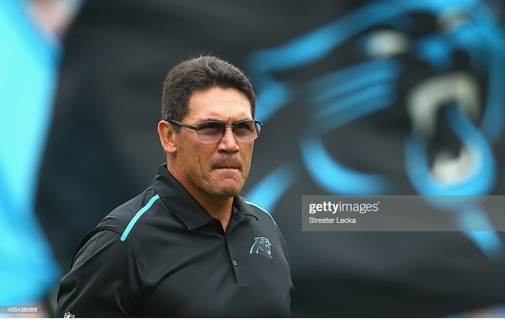 Carolina Panthers head coach Ron Rivera during the game against the Detroit Lions at Bank of America Stadium on September 14 2014 in Charlotte North...