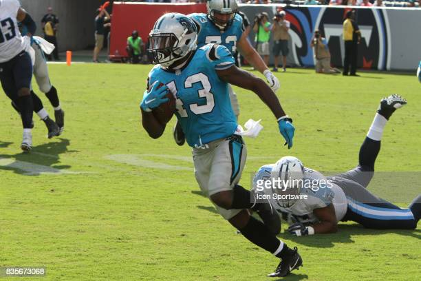 Carolina Panthers Kelvin Benjamin breaks away from a Titans defender during a preseason game against the Tennessee Titans on August 19 at Nissan...