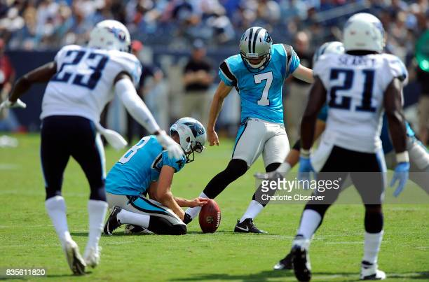 Carolina Panthers kicker Harrison Butker connects on a 46yard field goal as punter Andy Lee holds against the Tennessee Titans during the first half...