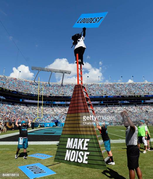 Carolina Panthers mascot Sir Purr gets the crowd to cheer louder during a time out in the second half against the Buffalo Bills on Sunday Sept 17...