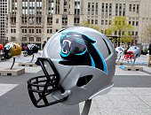Carolina Panthers NFL football helmet is on display in Pioneer Court to commemorate the NFL Draft 2015 in Chicago on April 30 2015 in Chicago Illinois