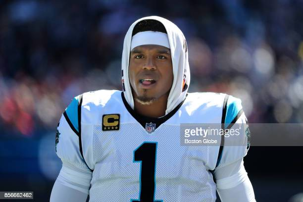 Carolina Panthers quarterback Cam Newton on the sideline during their game against the New England Patriots at Gillette Stadium in Foxborough Mass on...