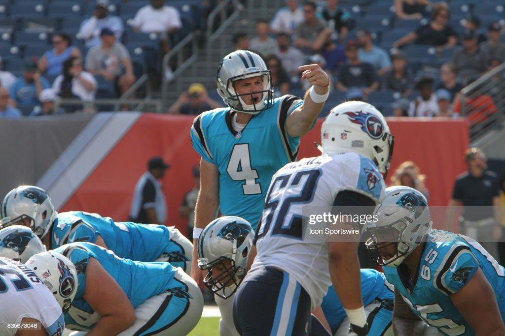 4989ba937759 Jersey Carolina Panthers quarterback Garrett Gilbert (4) calls out a play  ...