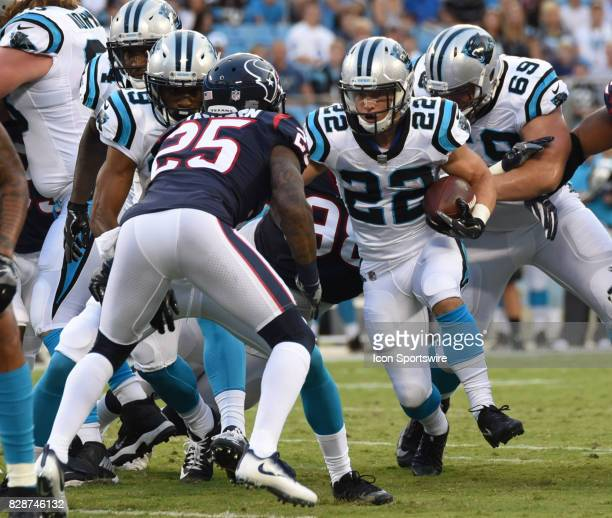 Carolina Panthers running back Christian McCaffrey runs the ball in the preseason game between the Houston Texans and the Carolina Panthers on August...