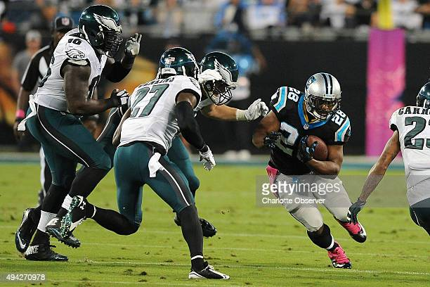 Carolina Panthers running back Jonathan Stewart looks for a hole in the Philadelphia Eagles defense to run during first quarter action on Sunday Oct...