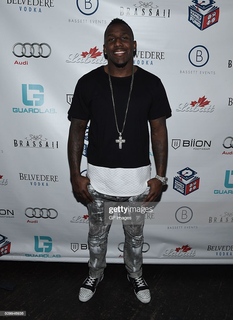 Carolina Panthers Thomas Davis attends the Jose Bautista All-Star Weekend kick-off party with special guest set by DJ Snoopadelic A.K.A Snoop Dogg sponsored by GuardLab at Brassaii on February 13, 2016 in Toronto, Canada.