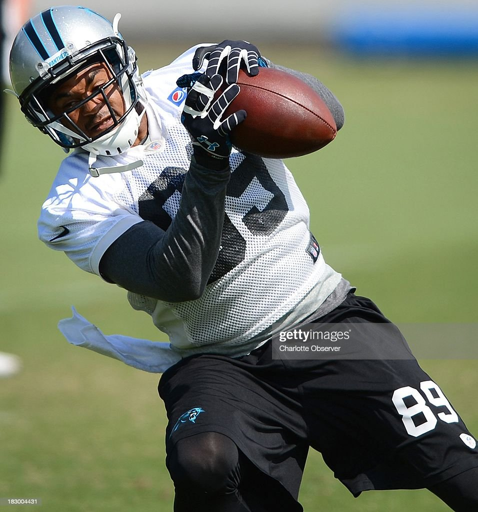 Carolina Panthers wide reciever Steve Smith catches a pass during practice in Charlotte, North Carolina, on Thursday, October 3, 2013.