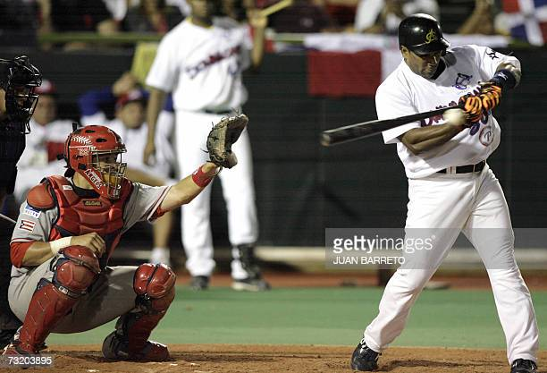 Miguel Tejada of the Dominican Republic's Aguilas Cibaenas bats during the Caribbean Series game against Gigantes of Carolina from Puerto Rico 04...