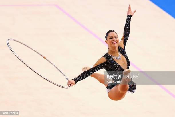 Carolina Rodriguez of Spain performs with the hoop during the individual competition of the GAZPROM World Cup Rhythmic Gymnastics at Porsche Arena on...