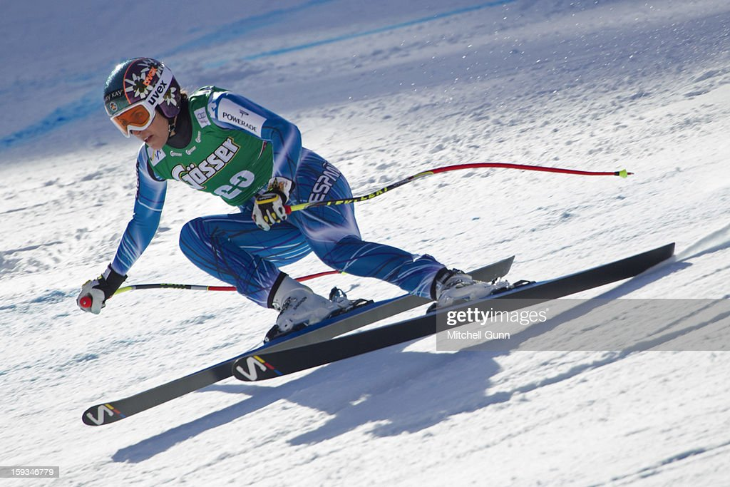 Carolina Ruiz-Castillo of Spain races down the Kandahar course while competing in the Audi FIS Alpine Ski World Cup downhill race on January 12, 2013 in St Anton, Austria.