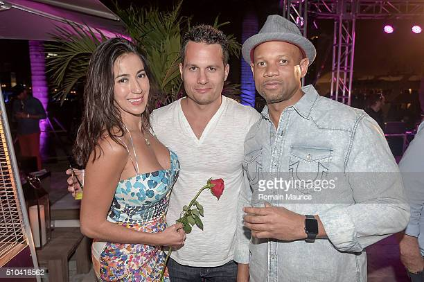 Carolina Soto Robert Jacobs and Ed Watson attend The Deck at Island Gardens Valentine's 2016 on February 14 2016 in Miami Florida